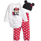 Newborn 3pcs Baby Boy Girls Kids Mickey Romper Hat Bodysuit Outfit Clothing Set