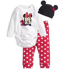 Newborn Baby Girls Boys Mickey Bodysuit Romper Top+Pants+Hat 3Pcs Outfits Sets