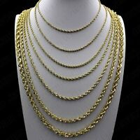 """10K Solid Yellow Gold 2mm - 6mm Diamond Cut Rope Chain Pendant Necklace 16""""- 30"""""""