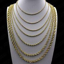 "Real Oro Amarillo 10K 2mm a 6mm Diamante Corte Soga Cadena Collar Colgante 14"" - 30"""