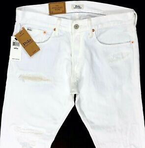 Polo Ralph Lauren Sullivan Slim White Distressed Exclusive Jeans sz 32,33,34,36