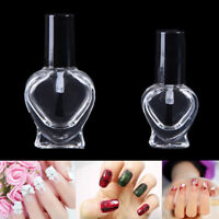 5/10Ml Empty Heart Nail Polish Clear Glass Bottle Storage Container With Cap  NT