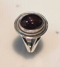 925 STERLING SOLID SILVER RING SIZE 5 TO 10 NATURAL STAR GARNET GEMSTONE OVAL D