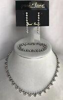Park Lane Rhinestone Necklace Earrings Bracelet SilverTone Clear Accents Lovely!