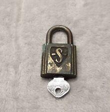 Antique Brass Slaymaker padlock original key footlocker chest locker unique