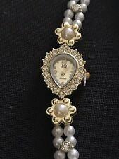 Luxury Women's Pearl Crystal  Gold-Tone Bracelet Watch