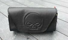 Sacoche / Pochette de pare brise en Cuir Motif Tête de Mort SKULL moto custom
