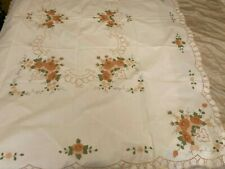 Decorative White/Peach table cloth with printed Flowers & Raised embroidery