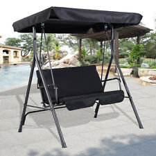 Costway Garden Metal Swing Chair Patio Swinging Seat 2 3 Seater Hammock  Bench Part 15