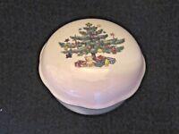 Vintage Nikko Japan Christmas Lidded Trinket Box Candy Dish 5 1/4 Diameter