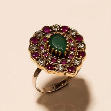Emerald, Ruby Gemstone Turkish Ottoman Handmade 925 Sterling Silver Ring Jewelry