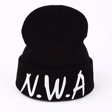 Black NWA Letter Beanie Hat Compton Vintage Embroidered Adjustable Winter Cap