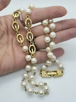 Vintage Givenchy Tripple G Logo Faux Pearl Necklace