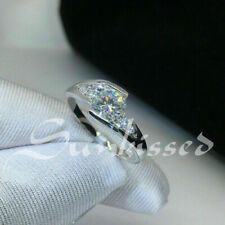 2.01 CT White Round Cut Solitaire Studded Engagement Ring Bypass Silver Ring