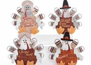 "7"" GIFTCRAFT RUSTIC THANKSGIVING PILGRIM TURKEY TABLE WALL DECOR THANKFUL"