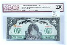 1917 Dominion Of Canada BCS Graded 1 Dollar Banknote Extra Fine 45
