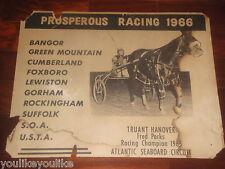 VINTAGE HARNESS HORSE RACING POSTER 1966 TRUANT HANOVER FRED PARKS PROSPEROUS NE