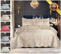 3 Piece Quilted Jacquard Bedspread Satin Throw Double & King Size Bedding Set