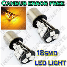 2 x bau15s 1156, 581, py21w CANBUS SENZA ERRORI 18 LED SMD Indicatore Lampadina giallo