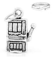 STERLING SILVER SMALL CASINO PLAY SLOT MACHINE CHARM WITH ONE SPLIT RING