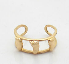 Ring Solid Real 14K Yellow Gold Adjustable Double Framed Feet Band Toe