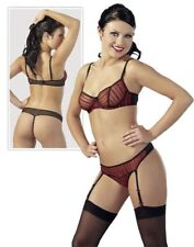 CC DAMEN Erotik Dessous Bügel BH Straps String Transparent Bordeaux in 75B/S