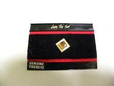 UNUSED Vintage Genuine Tiger Eye Tigereye Stone Tie Tack Clip (A3)