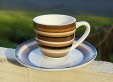 Mini Espresso Shot Demitasse Cup Saucer Set Brown Black Stripes Mug Plate Coffee