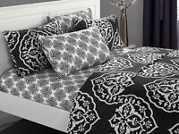 Chic Home Marquis 6 Piece Sheet w/ Pillowcases Set Medallion Print Black