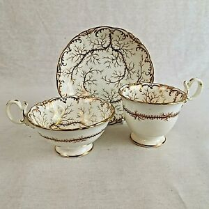 Antique Coalport Porcelain Trio Two Cups and Saucer Gilded Pattern Number 2/838