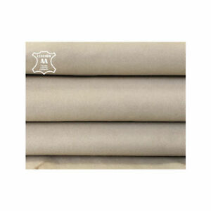 BEIGE lambskin velour leather Suede sheep skin pieces FEATHER GRAY 885, 2.25 oz