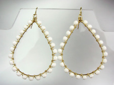 GORGEOUS White Agate Crystals Peruvian Beads Gold Chandelier Dangle Earrings