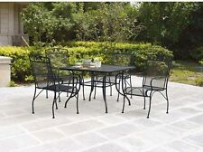 Wrought Iron Patio Furniture Sets Outdoor 5 Piece Dining Table Chairs Mesh Style