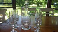 Hand Blown Decanter Glass Set Gray Cut Etched Vine Design Heavy 6 pc set OOAK