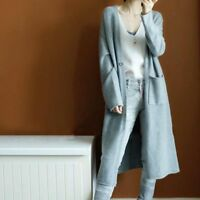 Women's Autumn 100% Cashmere Cardigan Long Sweater With Pockets Loose Coat S-XXL