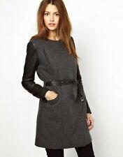 Vanessa Bruno Athé Wool Coat with Leather Sleeve Sz UK 10