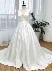 UK White ivory Satin Bridal Gown Sleeveless A Line Wedding Dresses Size 6-20