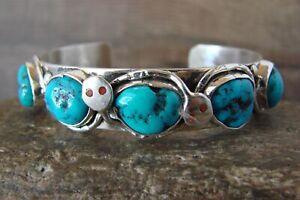 Zuni Indian Sterling Silver Turquoise Snake Bracelet - Candelaria