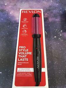 "REVLON Pro Collection Heated Silicone Bristle Barrel Curl Brush 1"" Black & Pink"