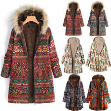 Plus Size Women Winter Warm Vintage Floral Printed Thicker Zipper Coat Outwear