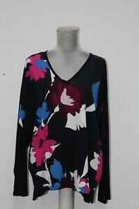 DKNY Womens Navy Printed Long Sleeve V Neck Top, XL