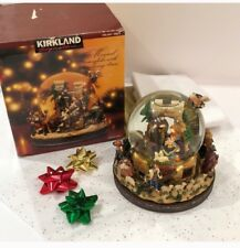 New Large Nativity Scene with Manger Xmas Globe Top Music