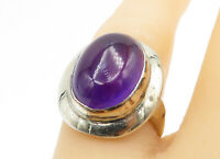 925 Sterling Silver - Cabochon Cut Amethyst Oval Cocktail Ring Sz 7 - R11605