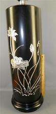 HUGE HOLLYWOOD REGENCY MARBRO BLACK LAQUER MOTHER OF PEARL INLAY BANQUET LAMP