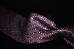 LNWOT Brioni Made Italy Liquid Gloss Satin Plum Magenta Spotted Diamond Silk Tie