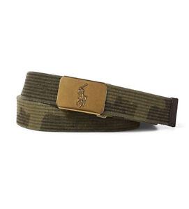 NWT-POLO RALPH LAUREN Gold-Tone Pony Plaque Army Green Camo Adjustable Belt-L