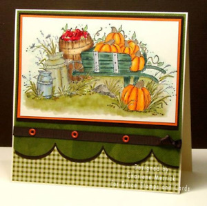 """FALL Wheelbarrow LARGER 5""""  RETIRED L@@k@examples Art impression rubber stamps"""
