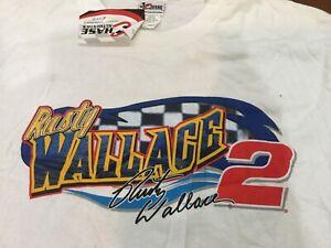 VINTAGE NASCAR Total print Shirt RUSTY WALLACE Miller Racing Long Sleeve Lrg NOS