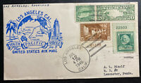 1940 Los Angeles CA USA First Flight Airmail Cover FFC To Lanscarter PA