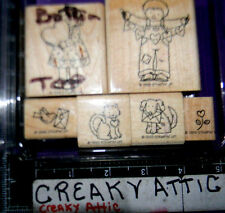 STAMPIN UP FROM THE HEART 6 RUBBER STAMPS KIDS VALENTINES LOVE DOG CAT DOVE